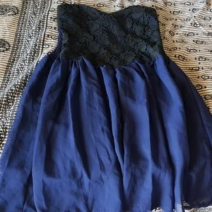Dresses & Skirts - Blue black evening tube dress with flare